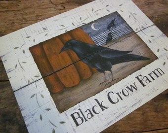 Black Crow Farm art print. Autumn Pumpkin Blackbird. vintage New England style primitive folk art. Fall decor. Rustic October. Donna Atkins