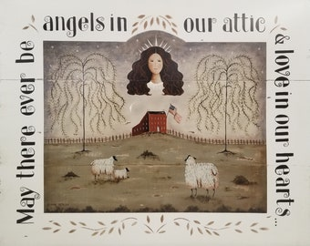 Angels In Our Attic, a 16x20 Primitive Folk Art print by Donna Atkins. Country, Farmhouse. Neutral colors. Americana Saltbox Sheep Willows.