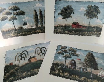 Primitive Folkart Country Houses. Hilly Pastoral Ocean Cottage Farmhouse Folk Art Prints. Purchase Individually or as a Set. Free Shipping.