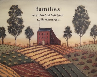 Pastoral Landscape, Families Quote. New England Primitive Folk Art style 18x24 Patchwork Quilt Fields Country Farmhouse Print. Donna Atkins