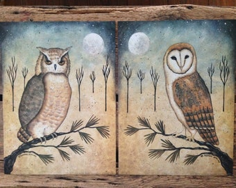 Hoot Owl - Barn Owl - Full Moon art prints. Night Visitors. Contemporary, Primitive New England style folk art by Donna Atkins