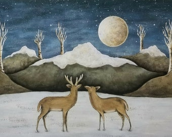 Moonlit Mountain Deer. Donna Atkins Primitive Folk Art Print. Full Moon, Birch Trees, Mountains, Deer in a Snowy Winter Field. Cabin Decor