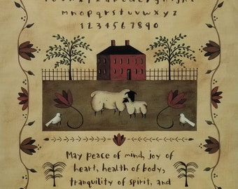 Peace of Mind. A New England Style Sampler. Alphabet, quotation, Sheep, Doves, Colonial Home, Flower border. Primitive Folk Art.