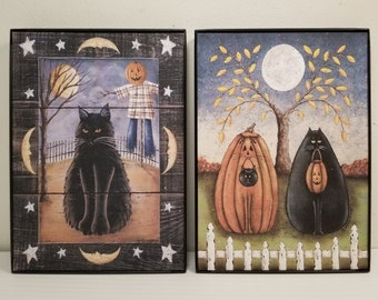 FRAMED Autumn or Halloween Prints. New England Style Folk Art by Donna Atkins. Black Cat, Pumpkin, Scarecrow, Full Moon, Fall. One or Both.