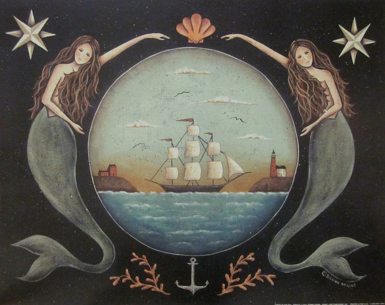 Sirens of the Sea. Mermaids Nautical Stars Ocean Schooner. image 0