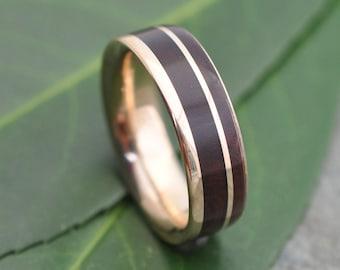 Un Lado Asi Yellow Gold Comfort Fit Wood Ring, Un Lado Asi Yellow Gold Wood Wedding Ring, Un Lado Asi Yellow Gold Wood Wedding Band