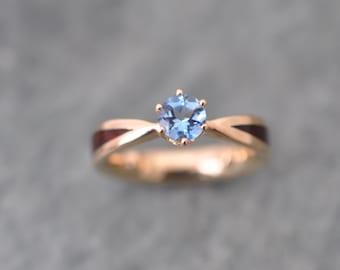 Aquamarine Wood Ring, Wood Diamond Gold Engagement Ring, Diamond Gold Wood Ring, Weeding Ring, Engagement Ring