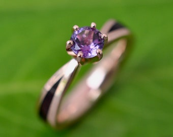 Amethyst Solitaire Wood Ring, Wood Diamond Gold Engagement Ring, Diamond Gold Wood Ring, Wedding Ring, Engagement Ring