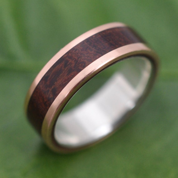 Rose Gold Wood Ring Lados Nacascolo Ecofriendly Wood Wedding Etsy