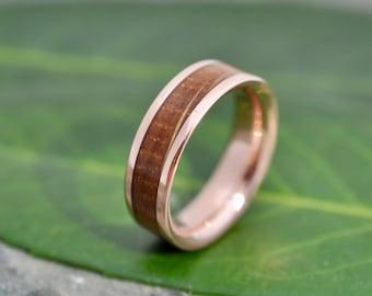 Rose Gold Bourbon Barrel Wood Ring Comfort Fit, Whiskey Barrel Ring, Bourbon Wood Ring, Mens Wood Wedding Band, Rose Gold Wedding Ring