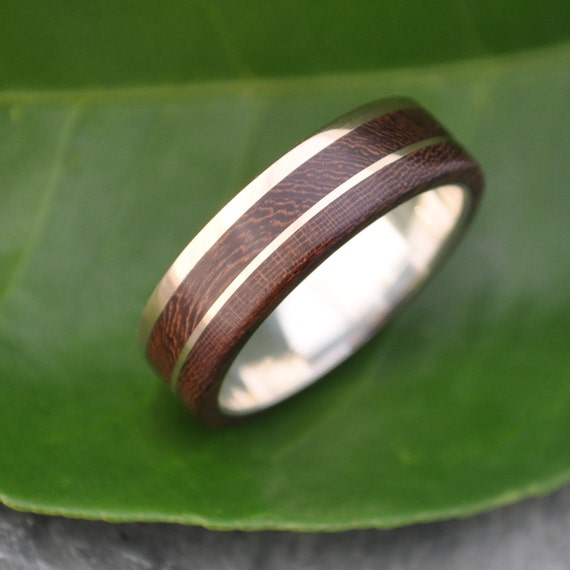 Gold And Silver Un Lado Asi Wood Ring Ecofriendly 14k Etsy