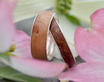 Dogwood Comfort Fit Wedding Band with Recycled Sterling Silver - ecofriendly wood wedding band, wood wedding ring, mens wood ring