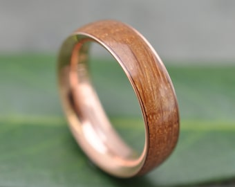 Rose Gold Bourbon Barrel Wedding Band, Comfort Fit Wood Ring - ecofriendly wood wedding band recycled rose gold, whiskey barrel ring