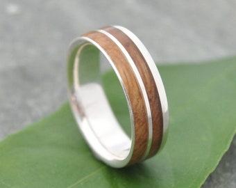 Un Lado Asi Kentucky Bourbon Barrel Sterling Silver Wood Ring, Bourbon Barrel Silver Wedding Ring, Silver Wood Wedding Band