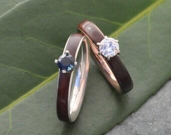 Sapphire Wood Engagement Ring, Diamond Gemstone Sapphire Wood Engagement Ring, Custom Gemstone Wood Ring, Womens Wood Ring