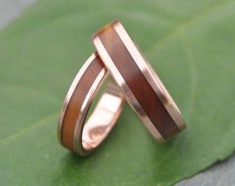 Lados Guayacán Rose Gold Wood Wedding Ring, Rose Gold Wood Wedding Ring, Woman Men Rose Gold Wood Wedding Ring