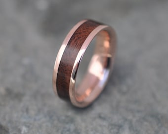 Rose Gold Lados Walnut Wood Ring, Ecofriendly Red Gold Wood Wedding Band, 14k Red Gold Wood Wedding Ring, Mens Gold Wood Ring