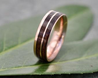 Un Lado Asi Rose Gold Walnut Wood Ring, Comfort Fit Rose Gold Wood Wedding Band, Gold Wood Wedding Ring, Mens Gold Wood Ring