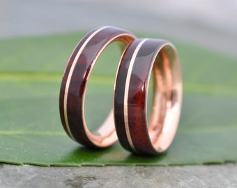 Cocobolo Rose Gold Wood Wedding Band, Nambaro Asi Rose Gold  Wood Ring, Rose Gold Wood Inlay Ring, Mens Wooden Ring, Comfort Fit Wood Ring