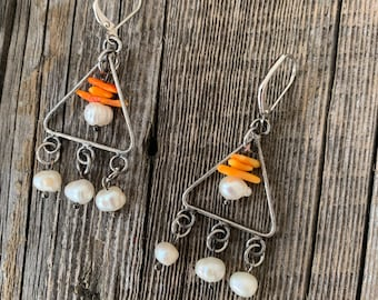 Amphitrite- pearls and coral triangle earrings
