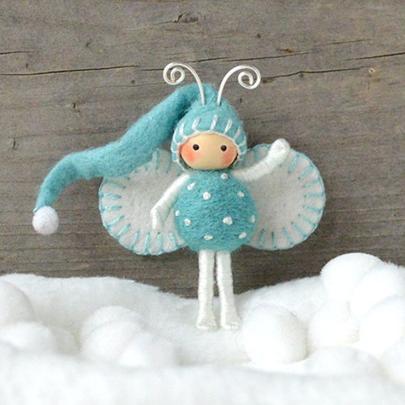 Elf Bendy doll in blue and White