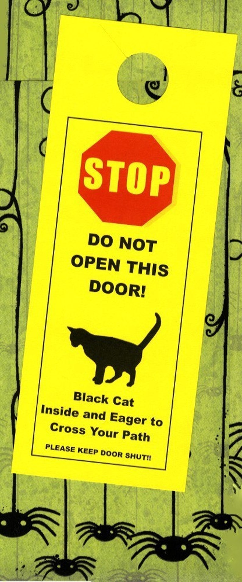 Black Cat Inside And Eager To Cross Your Path Door Sign Etsy