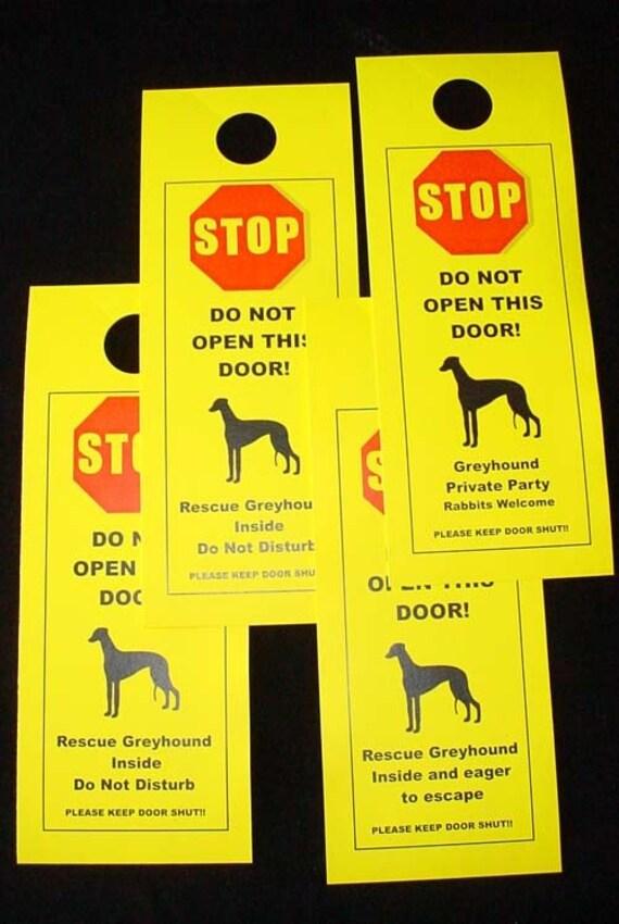 Retired Greyhound Friendly Door Signs Keep Dog Safe Etsy