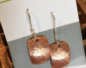 Patterned Copper and Sterling Silver Earrings