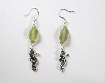Sea Glass Earrings with Seahorses