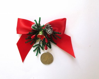 Christmas Brooch with Hand Beaded Pine Branches