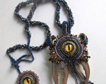 One of a kind playful monster necklace