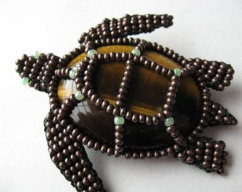 Beaded Turtle with Cabochon Custom made Your Choice of Color