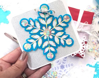 Winter Snowflake SVG Cut File art - multi-layered svg cut design with draw lines by Jen Goode