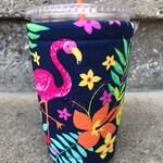 Flamingo Floral Coffee Cozy Cozie Iced Sleeve Cuff 20 oz size