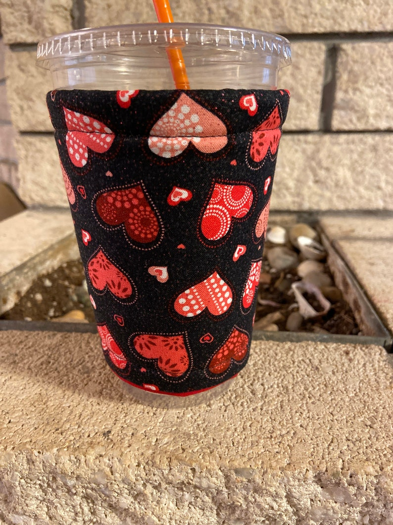 Valentines Day Hearts Coffee Cozy Cozie Iced Sleeve Cuff image 0