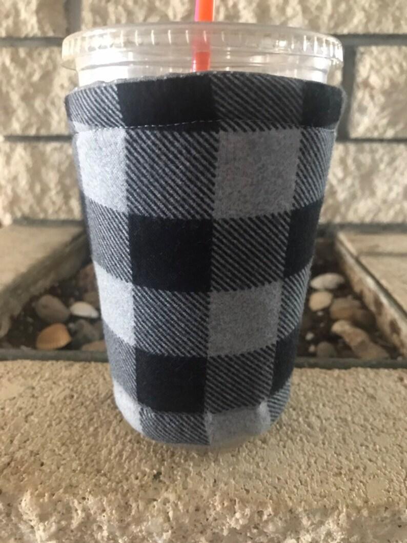 Plaid Coffee Cozy Cozie Iced Sleeve Cuff image 0