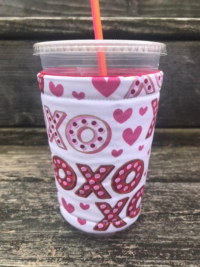 Valentines Day XoXo Coffee Cozy Cozie Iced Sleeve Cuff image 0