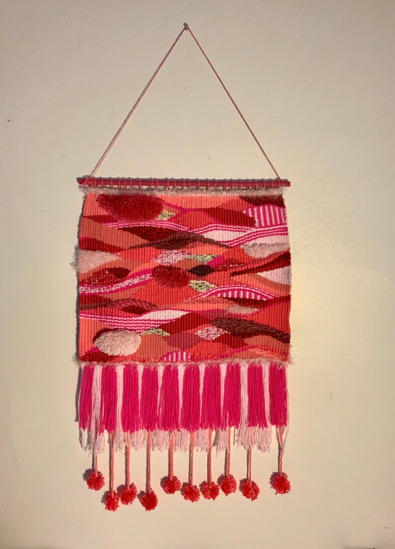 Pink Striped Bold Handwoven Wall Hanging Neon Pink Light Pink image 0