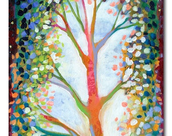 Reaching for the Starts - ORIGINAL Abstract Tree Painting, 12x36 by JENLO