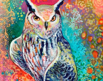 "Modern Owl Art - ""Ready to Tango"" - Art Print by Jenlo"