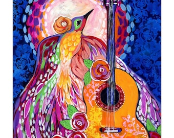 Limited Edition Print - Guitar Bird Abstract Fine Art Reproduction by Jenlo