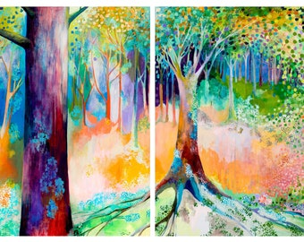 Searching for Forgotten Paths - Huge ORIGINAL Tree Abstract Painting 14 ft triptych by JENLO
