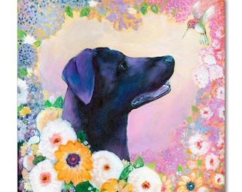 Lab Love - ORIGINAL pet portrait dog Painting, 16x20 by JENLO