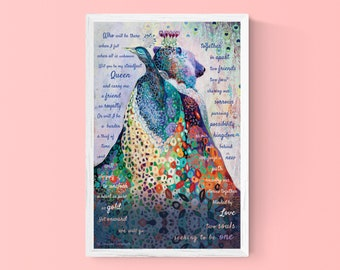 Fantasy Modern Wildlife Bear and Peacock - 11x17 POEM art by Jenlo