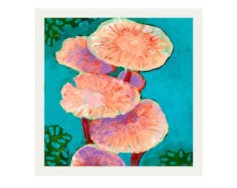 ORIGINAL Acrylic Mushroom Painted Mini Study #3 by JENLO - Beverly Beach, Oregon