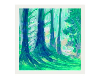 ORIGINAL Acrylic Forest Painted Mini Study #4 by JENLO - Beverly Beach, Oregon