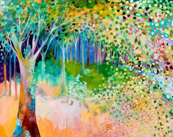 Fantasy Forest Large Contemporary Art - Fine Art Print by Jenlo