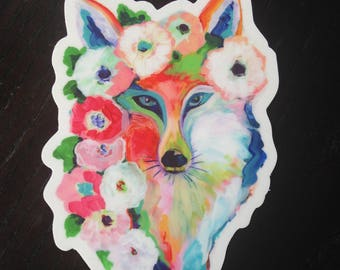 Fox and Flowers Vinyl Sticker, 3x5, by Jenlo