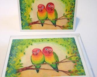 Love Birds - set of 6 Folding Card Enclosures by Jenlo