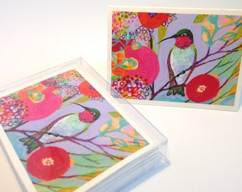 Hummingbird in Pink - set of 6 Folding Card Enclosures by Jenlo